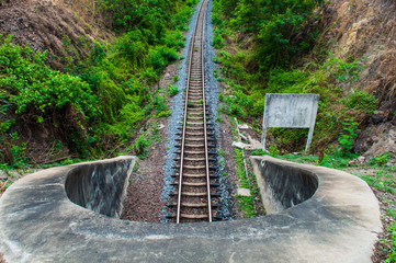 Top view railroad outlet tunnel,