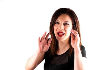 Studio shot of a joking caucasian woman