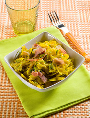 butterfly pasta with speck zucchinis saffron