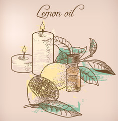 Lemon essential oil and candles