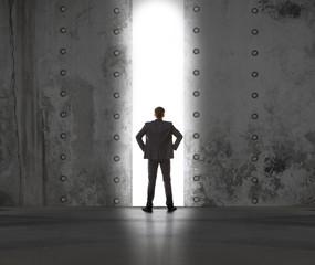 Businessman in exit light