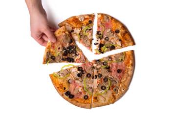 Male hand picking tasty Italian pizza slice