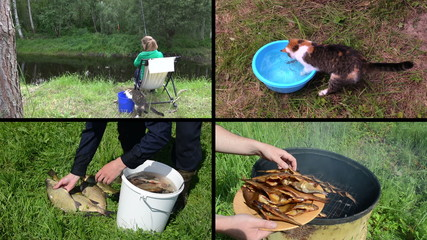 Woman angling with cat pet. Smoked fish. Video clips collage.