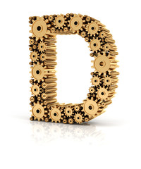 Alphabet D formed by gears