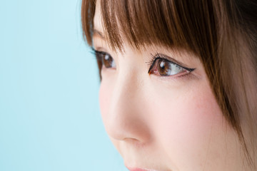 attractive asian woman closeup image