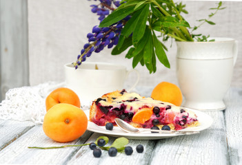 summer cake with blueberries and apricots