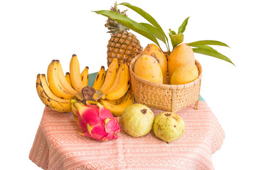 various fruits on white background