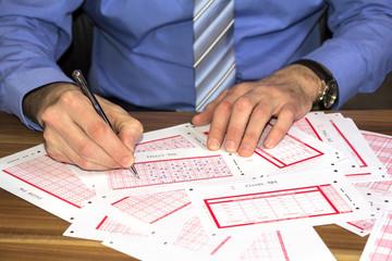 Marking lottery ticket