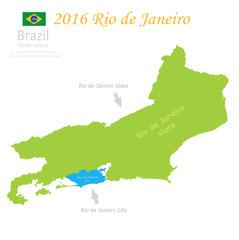 Rio de Janeiro state city Brazil map vector