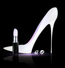white shoe and lipstick