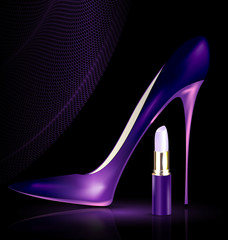 shoe and lipstick in purple