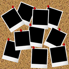 Blakn photo frames hanging on cork board with pushpins