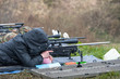 Leinwandbild Motiv rifle target shooter aiming