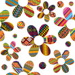Seamless pattern with ethnic motifs patterned flowers