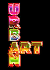 Glowing multicolor Urban Art sign