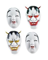 Japanese mask isolated over white background