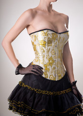 Attractive burlesque girl in corset with golden embroidery