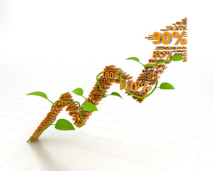 Growth arrow, 3d render