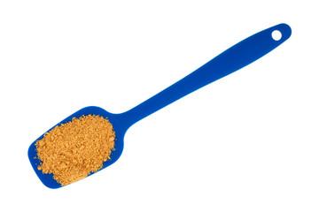 Powdered fajita seasoning mix in a blue spoon