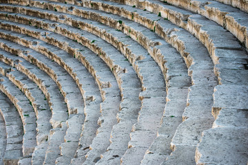 View of the stone stairs at Roman theater in Amman