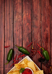 Background: Chips and Salsa with Jalepenos