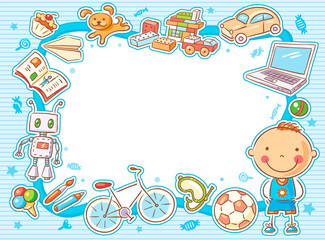 Blue Rectangular Frame with a Child and his Things