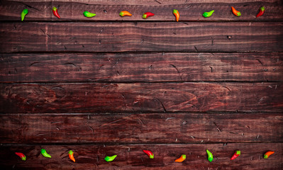 Background: Chile Pepper Decorations on Mexican Tabletop