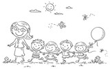 Fototapety Cartoon Kids and their Teacher Outdoors, Outline