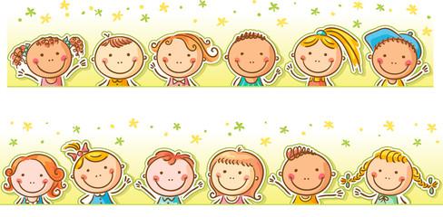 Border with happy cartoon kids