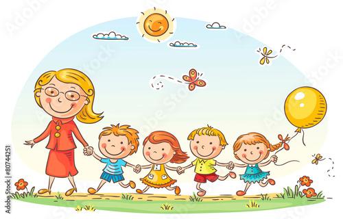 Fototapeta Cartoon Kids and their Teacher Outdoors