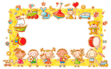 Rectangular Frame with Cartoon Kids
