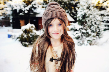 Adorable kid girl in winter