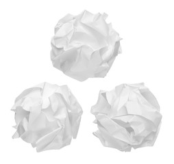 crumpled paper balls isolated on white background