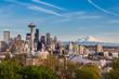Seattle downtown skyline and Mt. Rainier, Washington
