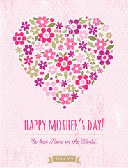 Mother's Day card with  heart of spring flowers
