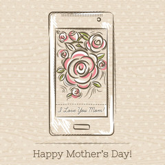Mother's Day card with smart phone and roses,  vector