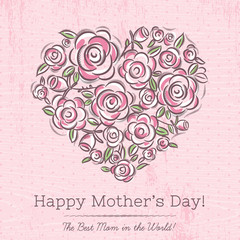 Pink card with heart of flowers for Mother's Day