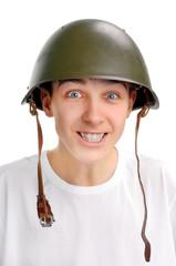 Teenager in Military Helmet