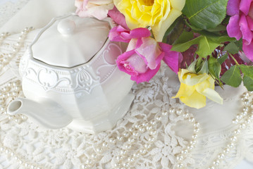 Pretty Teapot With Lace And Roses