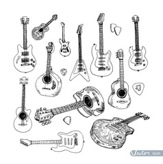 Electric guitar Hand drawn doodle, vector illustration.