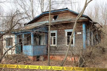 Abandoned overgrown house in Chernobyl Zone Ukraine