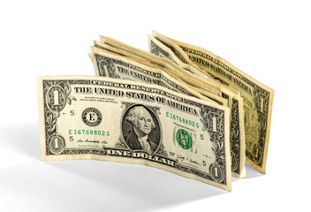 Wad of one UD dollar bills standing upright