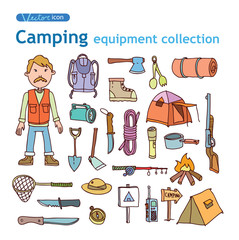 Vector set of camping icons
