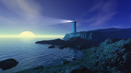 Seascape with lighthouse