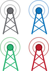 Signal wifi tower in different colors
