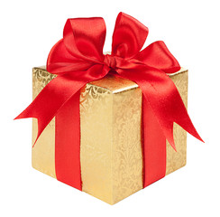 Concept gift - a gold box with a red bow