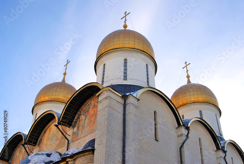 Dormition church in Moscow Kremlin. UNESCO World Heritage Site. - 80749029