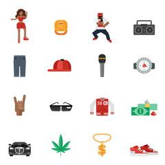 Rap Music Flat Icons