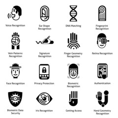 Biometric Authentication Icons Black