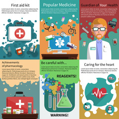 Mini medicine poster muliticolored set